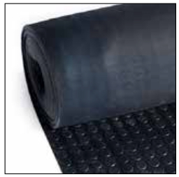 Noppenloper zwart, dikte 3 mm, breedte 700 mm, per lopende meter